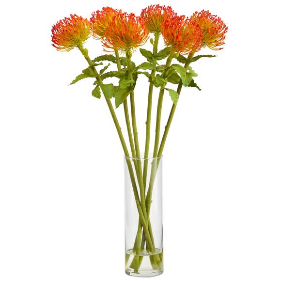 23 Pincushion Artificial Arrangement in Glass Vase - SKU #A1486