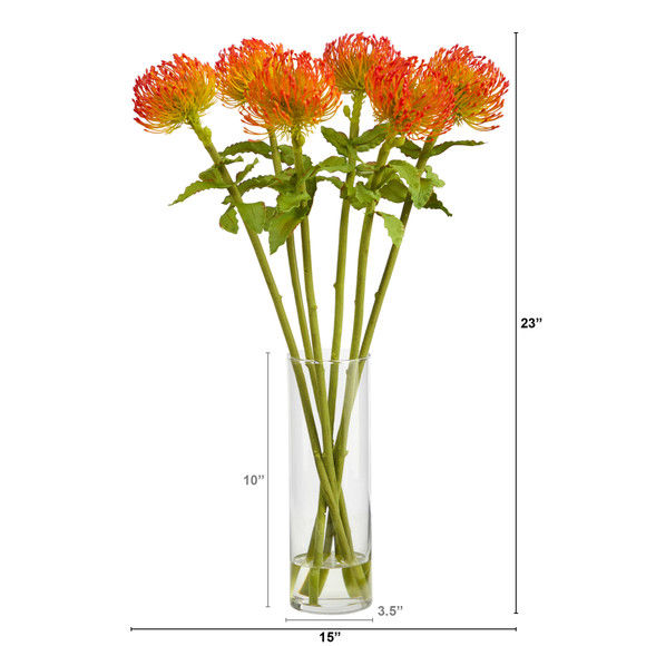 23 Pincushion Artificial Arrangement in Glass Vase - SKU #A1486 - 1