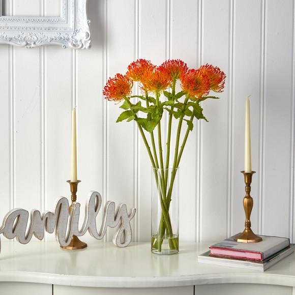 23 Pincushion Artificial Arrangement in Glass Vase - SKU #A1486 - 2
