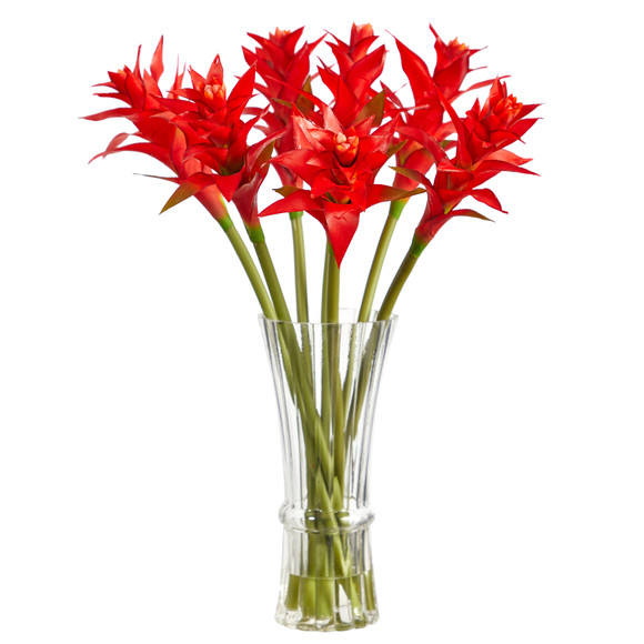 23 Star Bromeliad Artificial Arrangement in Glass Vase - SKU #A1487