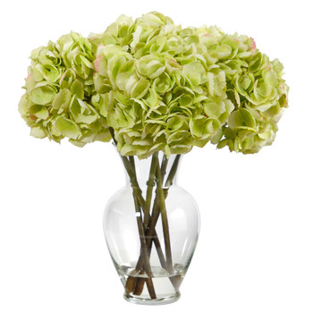 18 Hydrangea Artificial Arrangement in Glass Vase - SKU #A1488
