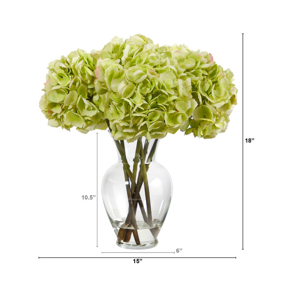 18 Hydrangea Artificial Arrangement in Glass Vase - SKU #A1488 - 1
