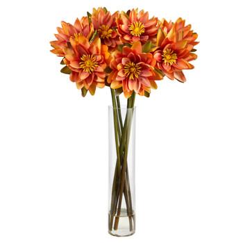 30 Lotus Artificial Arrangement in Cylinder Vase - SKU #A1489