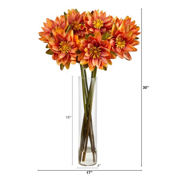 30 Lotus Artificial Arrangement in Cylinder Vase - SKU #A1489 - 5