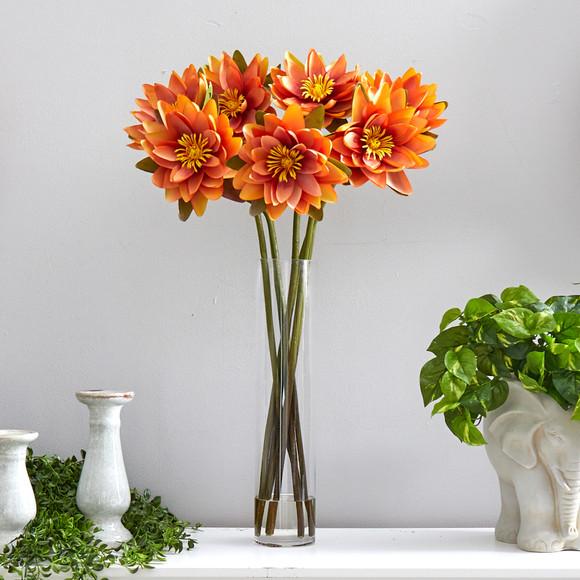 30 Lotus Artificial Arrangement in Cylinder Vase - SKU #A1489 - 6