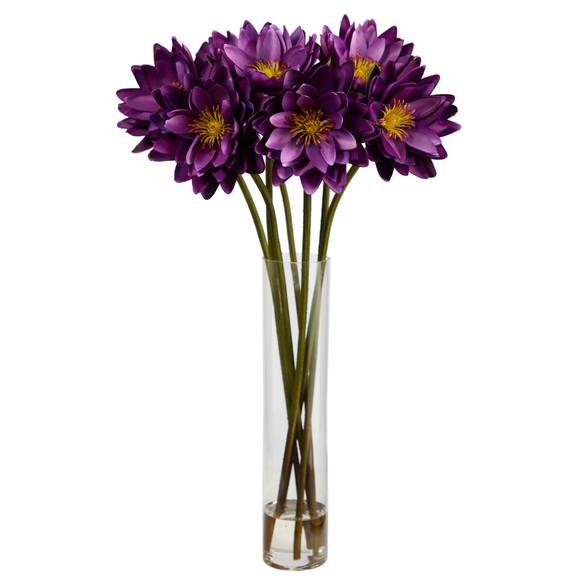30 Lotus Artificial Arrangement in Cylinder Vase - SKU #A1489 - 12