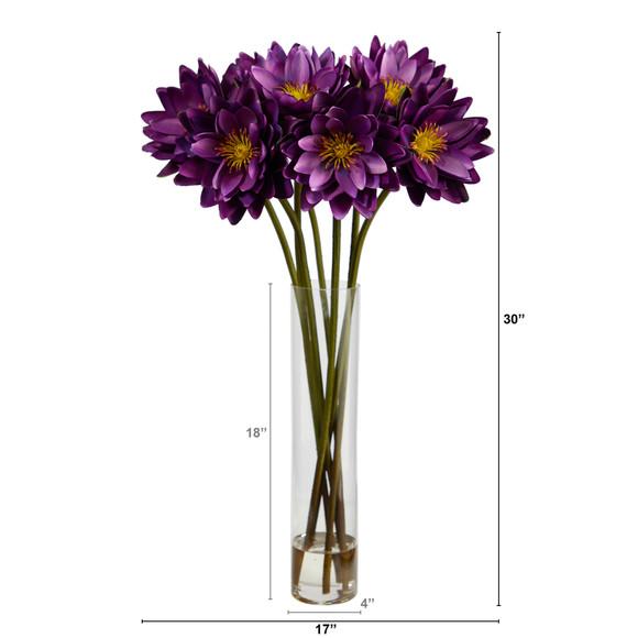 30 Lotus Artificial Arrangement in Cylinder Vase - SKU #A1489 - 13