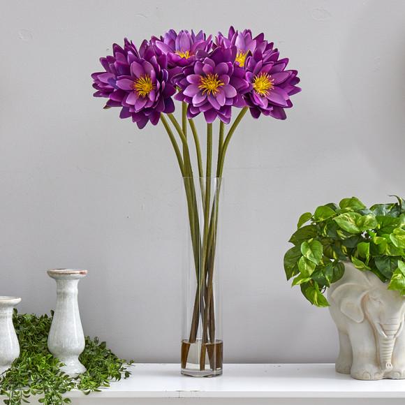 30 Lotus Artificial Arrangement in Cylinder Vase - SKU #A1489 - 14