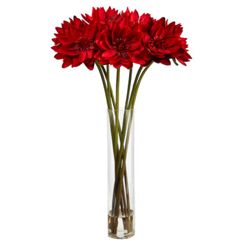 30 Lotus Artificial Arrangement in Cylinder Vase - SKU #A1489