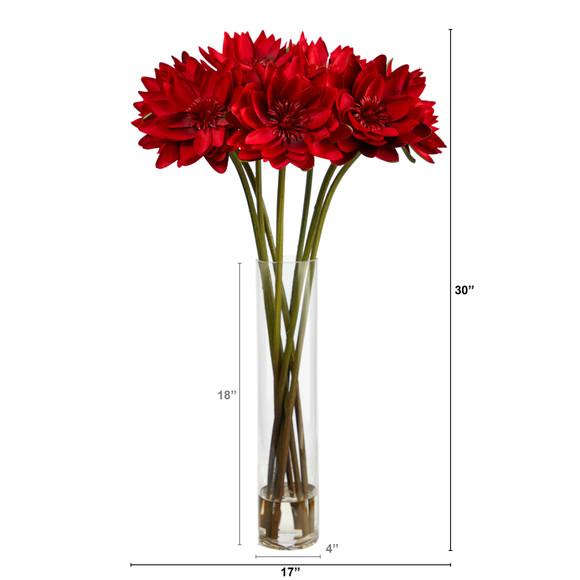 30 Lotus Artificial Arrangement in Cylinder Vase - SKU #A1489 - 1