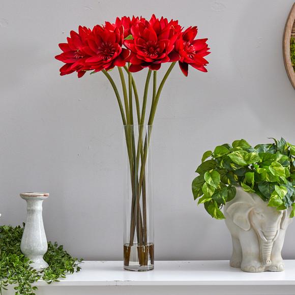 30 Lotus Artificial Arrangement in Cylinder Vase - SKU #A1489 - 2