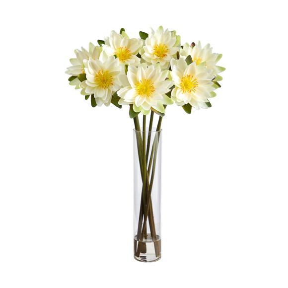 30 Lotus Artificial Arrangement in Cylinder Vase - SKU #A1489 - 8