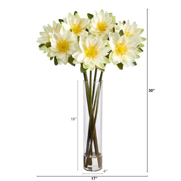 30 Lotus Artificial Arrangement in Cylinder Vase - SKU #A1489 - 9