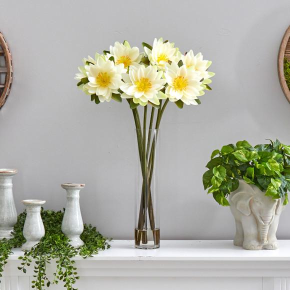 30 Lotus Artificial Arrangement in Cylinder Vase - SKU #A1489 - 10