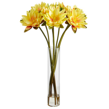 30 Lotus Artificial Arrangement in Cylinder Vase - SKU #A1489-YL