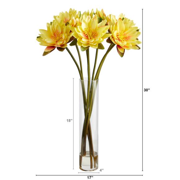30 Lotus Artificial Arrangement in Cylinder Vase - SKU #A1489 - 17