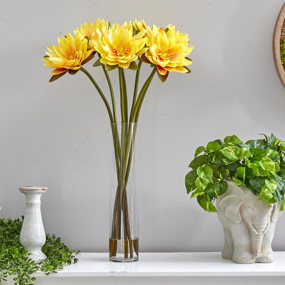 30 Lotus Artificial Arrangement in Cylinder Vase - SKU #A1489 - 18