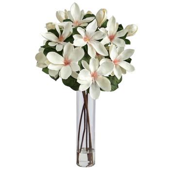 31 Japanese Magnolia Artificial Arrangement in Cylinder Vase - SKU #A1490