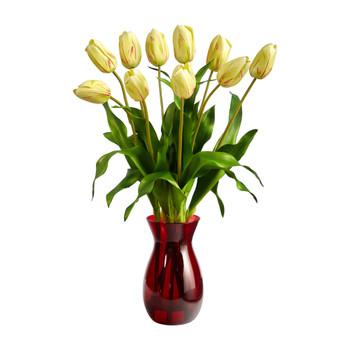 22 Dutch Tulip Artificial Arrangement in Ruby Vase - SKU #A1491-YR
