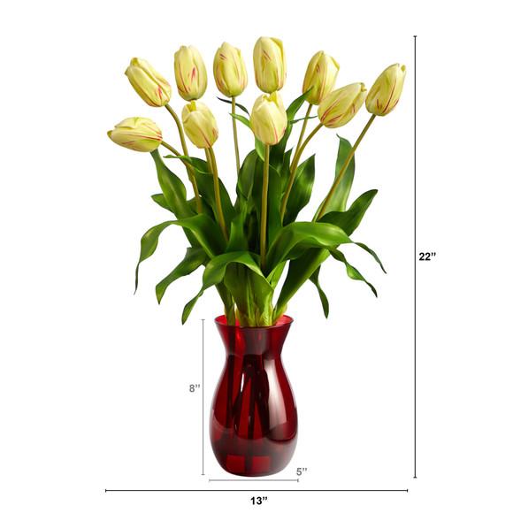 22 Dutch Tulip Artificial Arrangement in Ruby Vase - SKU #A1491-YR - 1