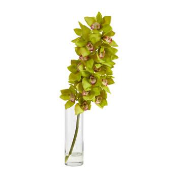 28 Cymbidium Orchid Artificial Arrangement in Glass Vase - SKU #A1492-GR