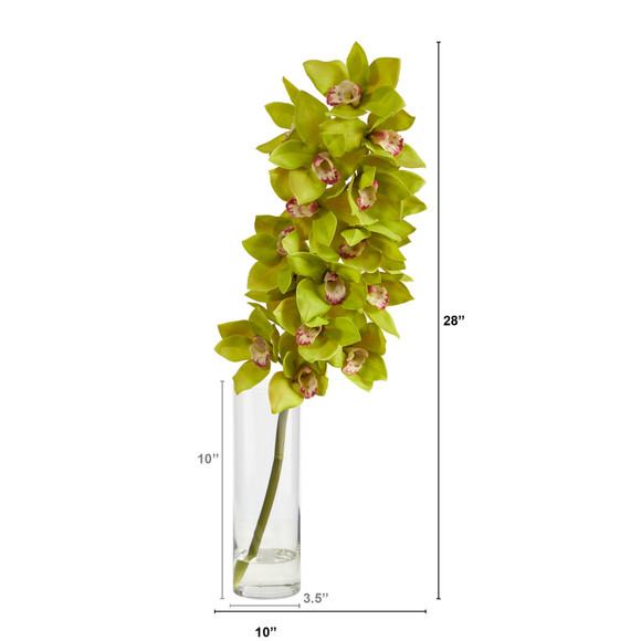 28 Cymbidium Orchid Artificial Arrangement in Glass Vase - SKU #A1492-GR - 1