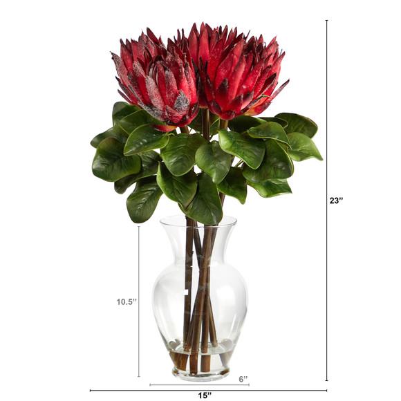 23 King Protea Artificial Arrangement in Glass Vase - SKU #A1493 - 1