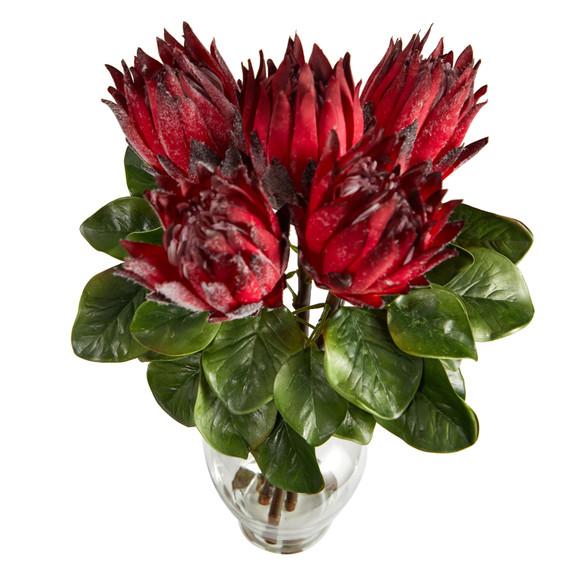23 King Protea Artificial Arrangement in Glass Vase - SKU #A1493 - 2