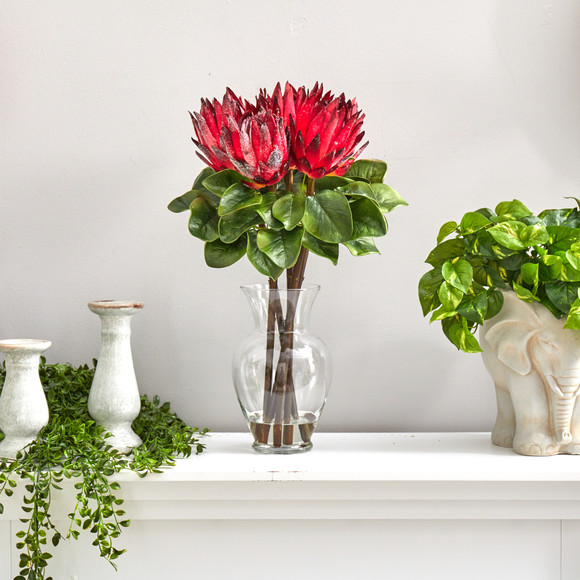 23 King Protea Artificial Arrangement in Glass Vase - SKU #A1493 - 4