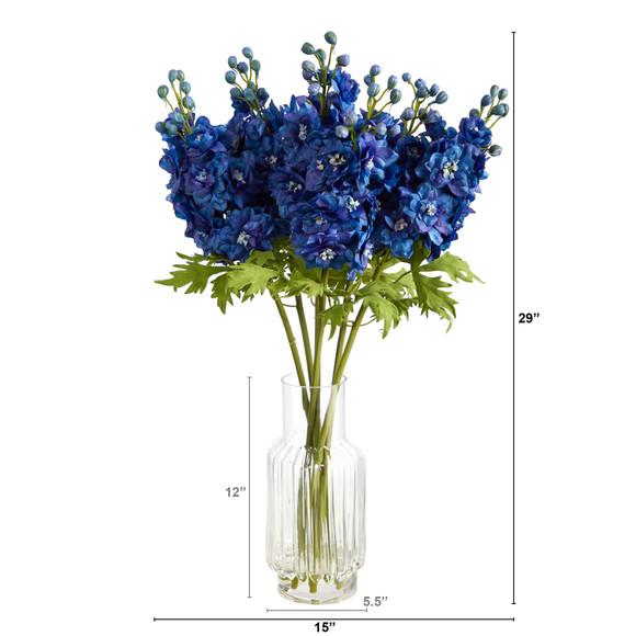29 Delphinium Artificial Arrangement in Glass Vase - SKU #A1494 - 1