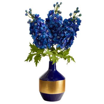 23 Delphinium Artificial Arrangement in Blue and Gold Designer Vase - SKU #A1495