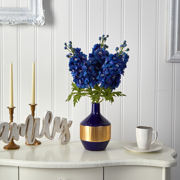 23 Delphinium Artificial Arrangement in Blue and Gold Designer Vase - SKU #A1495 - 2