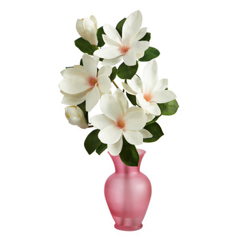 24 Japanese Magnolia Artificial Arrangement in Rose Colored Vase - SKU #A1496