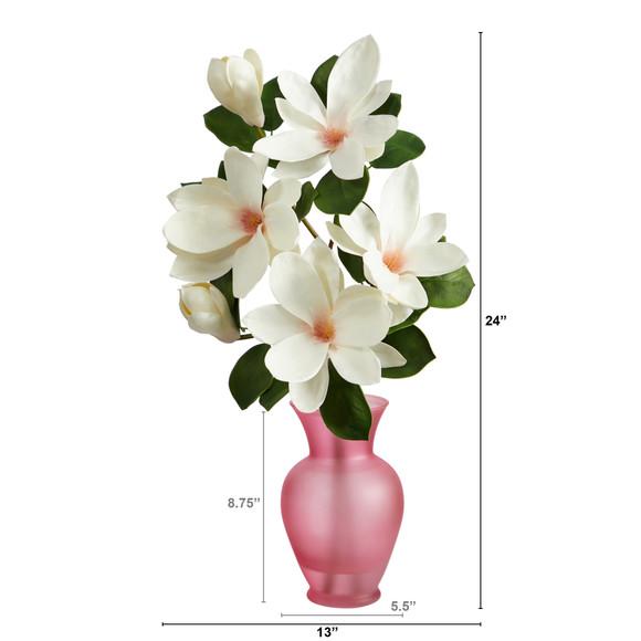 24 Japanese Magnolia Artificial Arrangement in Rose Colored Vase - SKU #A1496 - 1