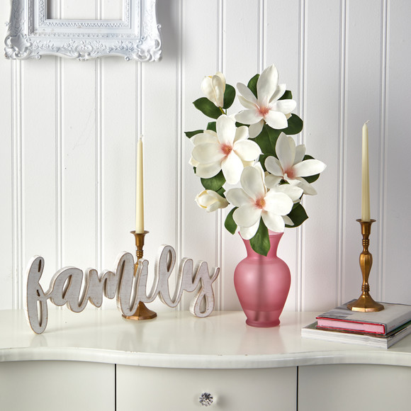 24 Japanese Magnolia Artificial Arrangement in Rose Colored Vase - SKU #A1496 - 2