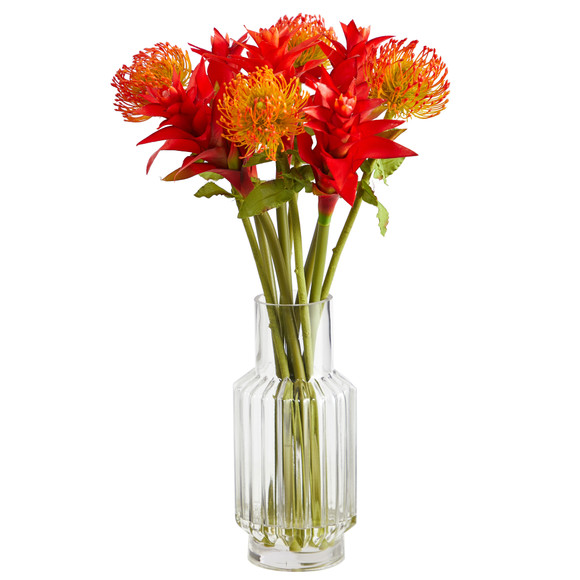24 Pincushion and Star Bromeliad Artificial Arrangement in Glass Vase - SKU #A1497