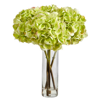 18 Hydrangea Artificial Arrangement in Glass Vase - SKU #A1499