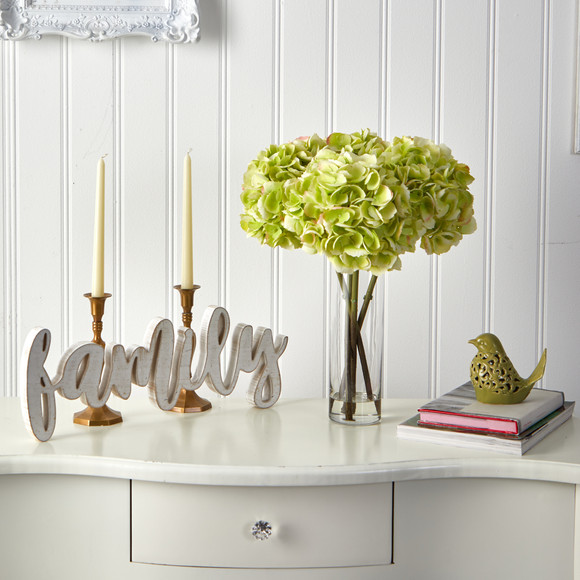 18 Hydrangea Artificial Arrangement in Glass Vase - SKU #A1499 - 2