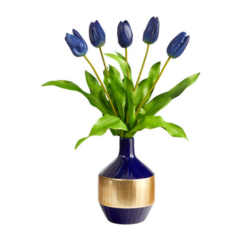 22 Dutch Tulip Artificial Arrangement in Blue and Gold Designer Vase - SKU #A1500