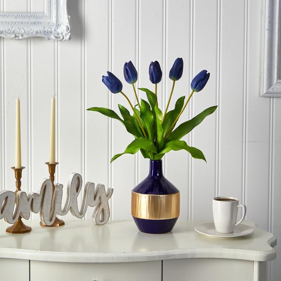 22 Dutch Tulip Artificial Arrangement in Blue and Gold Designer Vase - SKU #A1500 - 2