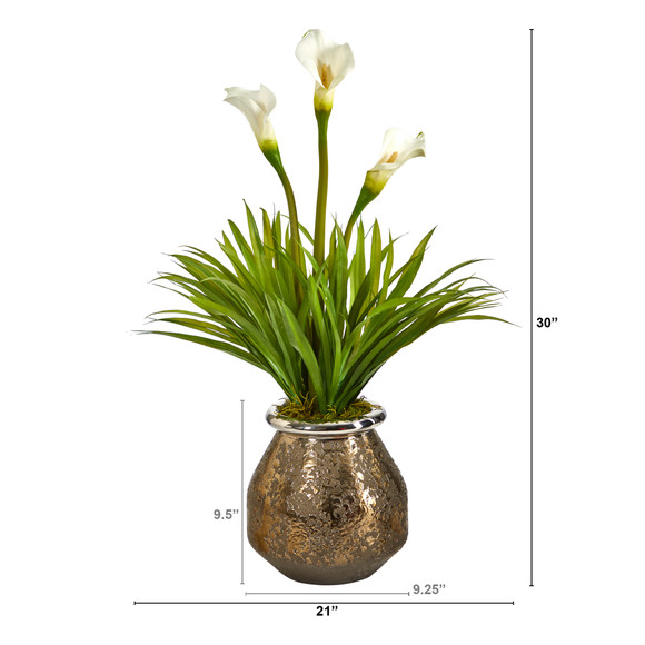 30 Calla Lily and Grass Artificial Arrangement in Designer Vase - SKU #A1602 - 1