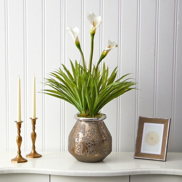 30 Calla Lily and Grass Artificial Arrangement in Designer Vase - SKU #A1602 - 2