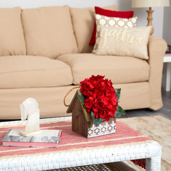 10 Hydrangea Artificial Arrangement in Hanging Floral Design House Planter - SKU #A1603