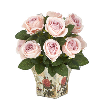 11 Rose Artificial Arrangement in Floral Vase - SKU #A1604