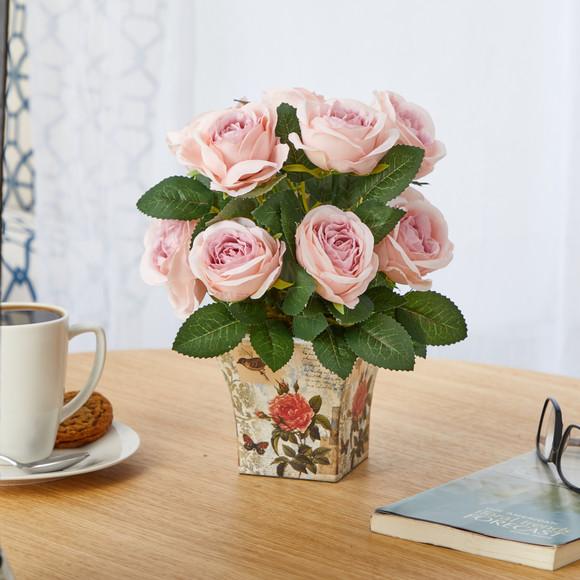 11 Rose Artificial Arrangement in Floral Vase - SKU #A1604 - 2