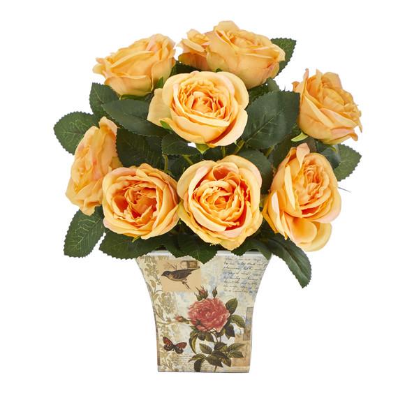 11 Rose Artificial Arrangement in Floral Vase - SKU #A1604 - 3