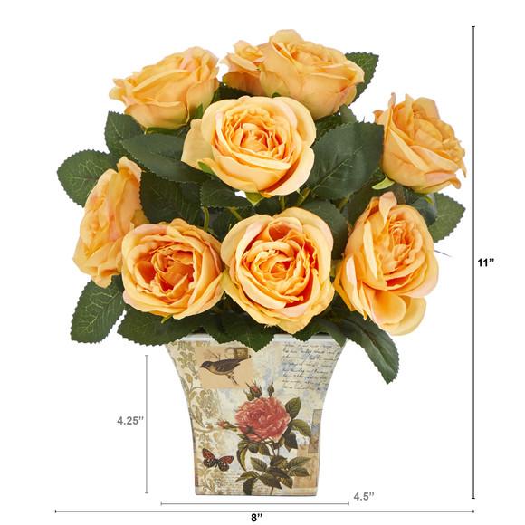 11 Rose Artificial Arrangement in Floral Vase - SKU #A1604 - 4