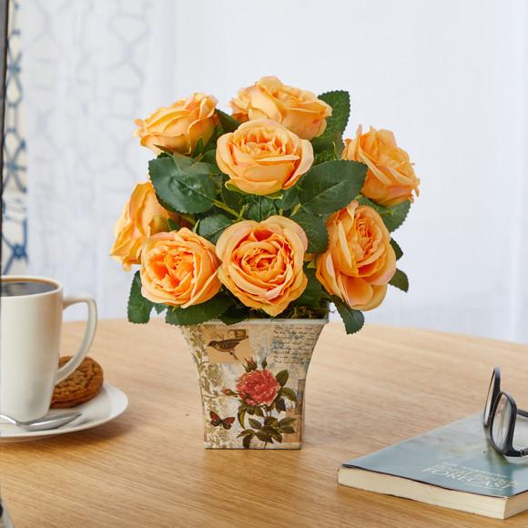 11 Rose Artificial Arrangement in Floral Vase - SKU #A1604 - 5