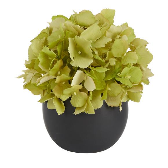 6 Hydrangea Artificial Arrangement in Decorative Vase - SKU #A1605-WH - 3