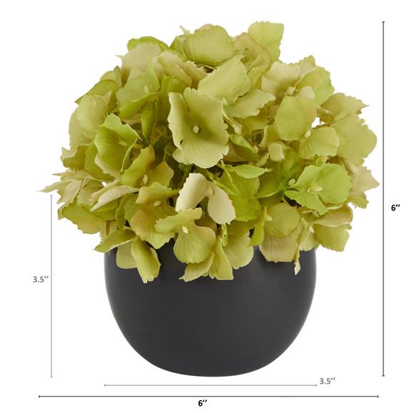 6 Hydrangea Artificial Arrangement in Decorative Vase - SKU #A1605-WH - 4